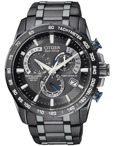 Citizen Alarm - Citizen Eco-Drive Men's AT4007-54E Perpetual Chrono A-T Black Ion Plated Stainless Steel Watch