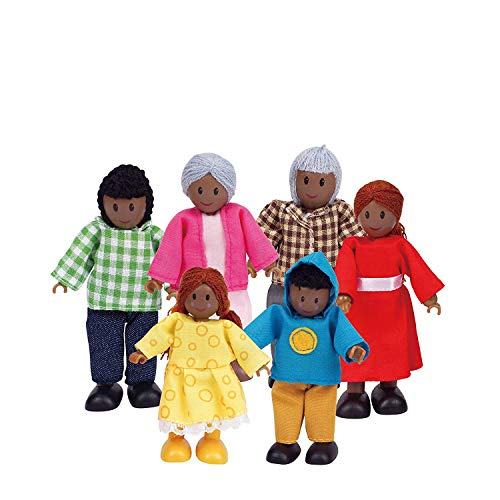 Hape African American Wooden Doll House Family (Hope Dolls)