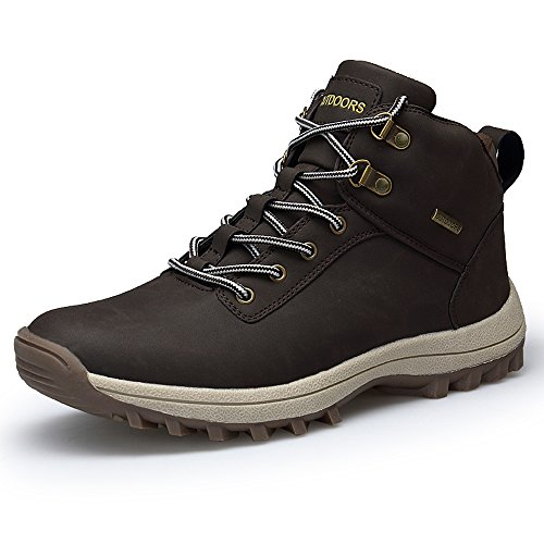 YZHYXS Ankle Hiking Boots For Men PU Leather Breathable Comfort Trekking Boots Mens Waterproof Brown Size 9 (572-1brown43)