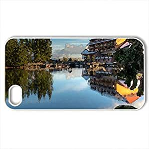 Beautiful landscape - Case Cover for iPhone 4 and 4s (Lakes Series, Watercolor style, White)