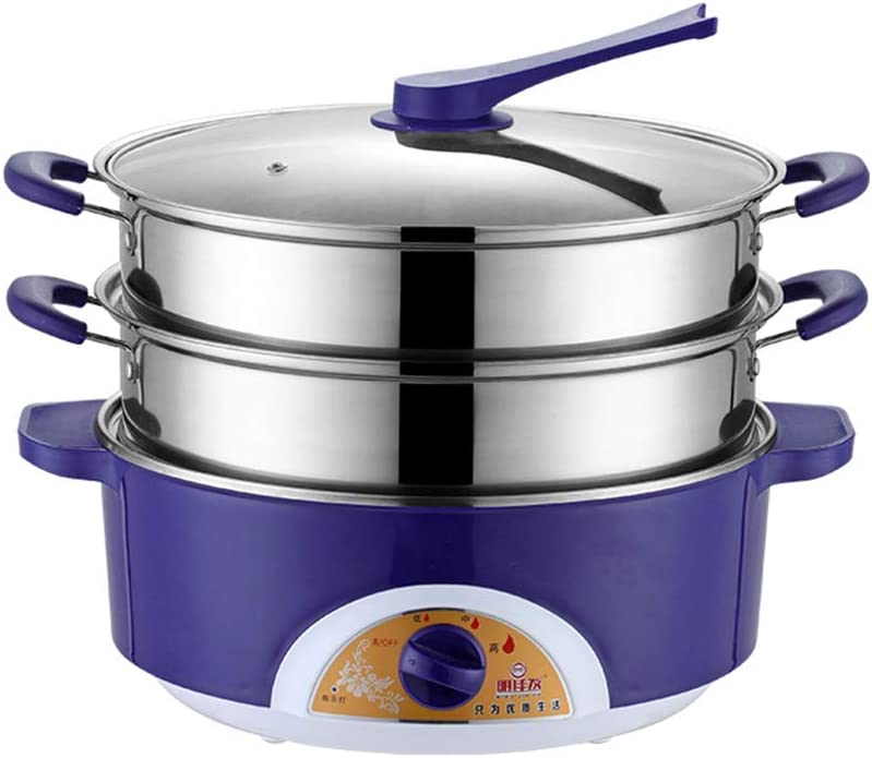 red, purple ,Purple,32CM LYZL Multi-function electric steamer 32CM double-layer stainless steel consumer and commercial electric skillet three-speed firepower adjustment anti-dry design
