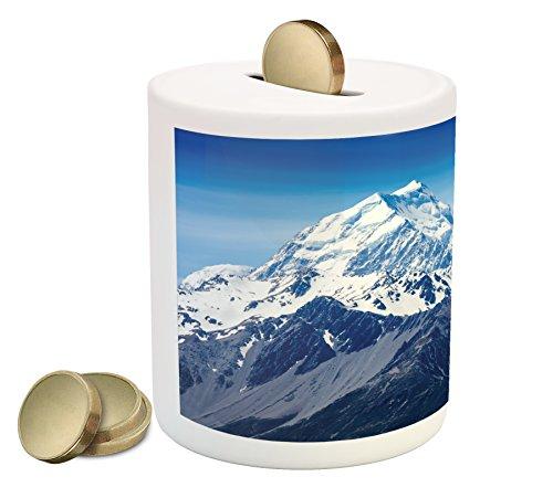 (Lunarable Mountain Piggy Bank, Idyllic Snowy Mountain Summit Majestic Nature Beauty Glacier Landscape Image, Printed Ceramic Coin Bank Money Box for Cash Saving, Blue White Black)