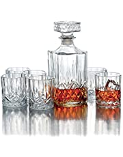 Style Setter Decanter Set – Lead-Free Matching Glass Decanter & Glassware for Everyday or Entertaining – Modern Glasses- Gift for Weddings, Birthdays & Holidays