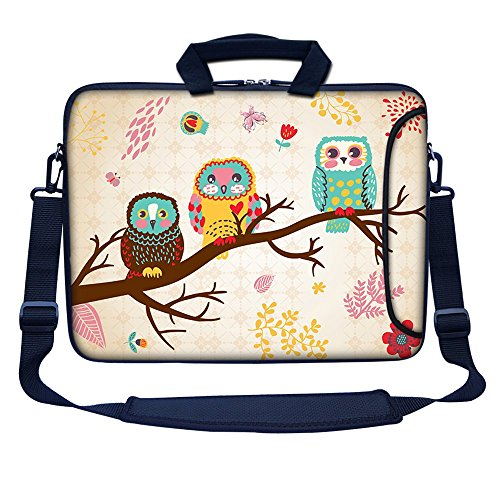 Meffort Inc 15 15.6 inch Neoprene Laptop Bag Sleeve with Extra Side Pocket, Soft Carrying Handle & Removable Shoulder Strap for 14 to 15.6 Size Notebook Computer (Three Owls)