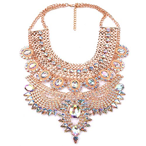 (NABROJ Fashion Chunky Necklace Pendant Collier Collar Choker Big Vintage Maxi Gold Statement Necklace with Bling Crystal Costume Jewelry for Women-HL23 Crystal )
