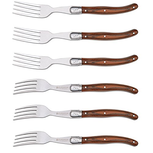 (Forks Set of 6, Hailingshan Heavy Duty Stainless Steel Dinner Table Flatware Set, Laguiole Premium Kitchen Cutlery Utensils Salad Meat Steak Fork Mirror Finish Wooden Handel 23cm 6-Piece [Gift Box])