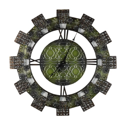 Elements Roman Numeral Metal Patchwork Wall Clock