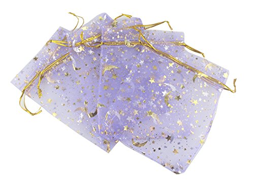 QIANHAILIZZ 100 Moon Star Organza Jewelry Gift Pouch Candy Pouch Drawstring Wedding Favor Bags (lilac, 3.5 x 4.7 inch) ()