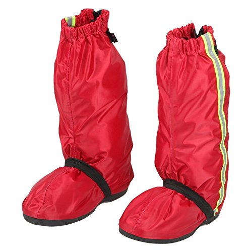 Anti Slip Waterproof Rain Shoes Cover size Men 7.5-8 Women 9-9.5 with Reflective Line and Sturdy Zippered Elastic Bands for Outdoor Hiking Camping Fishing - Red by Go Motorcycle Boot Covers