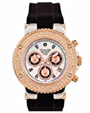 Mulco MW3-70602S-023 Stainless Steel Chronograph BlueMarine Collection Rose Gold and Stones bezel Black Band Watch