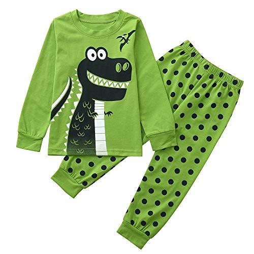 Toddler Baby Boy Girl Pajamas Outfit Clothes 1-5 Years Old,Kids Dinosaur Print Top and Stripe Print Pants Set (18-24 Months, Green-6) ()