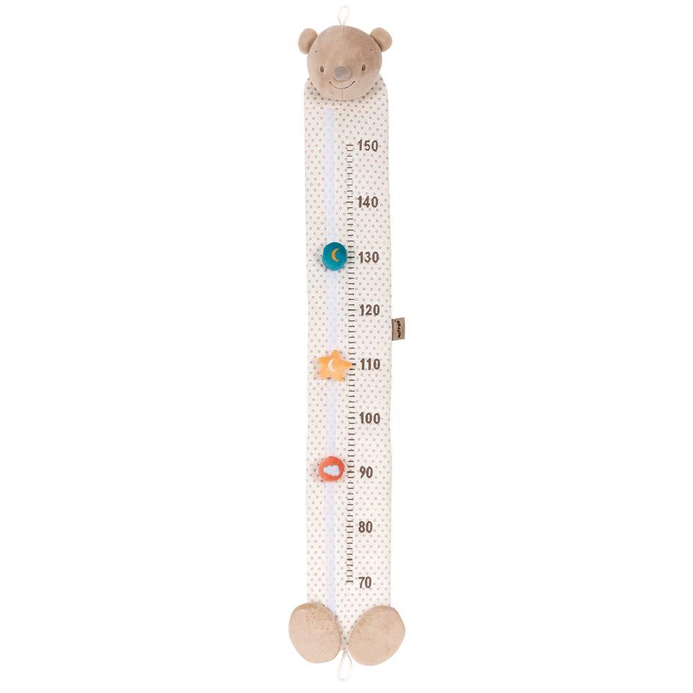 Nattou Medidor para ni/ños del Oso Basile de 70 a 150 cm Marr/ón//Blanco punteado Mia y Basile 117 x 20 x 2 cm