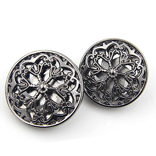 10PCS Clothes Button - Fashion Hollow Flower Metal Shank Round Shaped Metal Button Set Sewing Button (18mm, Black)