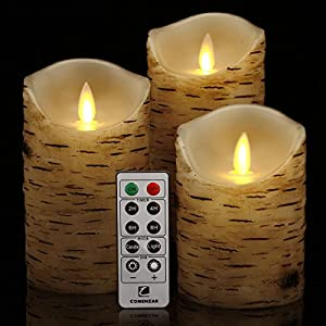 comenzar Flickering Candles, Candles Birch Set of 4 5″ 6″ Birch Bark Battery Candles Real Wax Pillar with Remote Timer