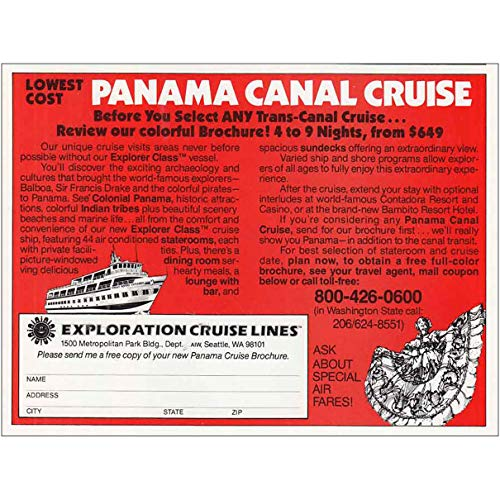 RelicPaper 1982 Exploration Cruise Lines: Panama Canal, Exploration Cruise Lines Print Ad (Best Cruise Line For Panama Canal)