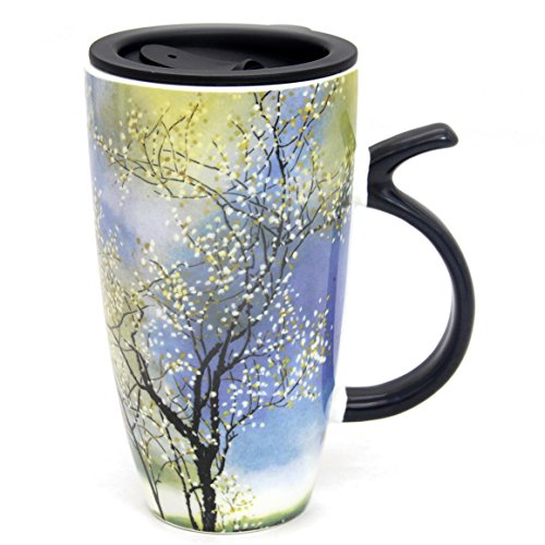 20 OZ Beautiful Spring Tree Painting Gift Mug, Momugs (TM) Large Colourful Ceramic Coffee Cup with a black Plastic Lid, - Ceramic Wash Cup