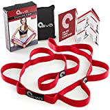 Yoga EVO Stretching Strap with 10 Elastic Loops + eBook & 35 Online Stretch Out Video Exercises - Yoga and Pilates Workouts (Cherry Red)