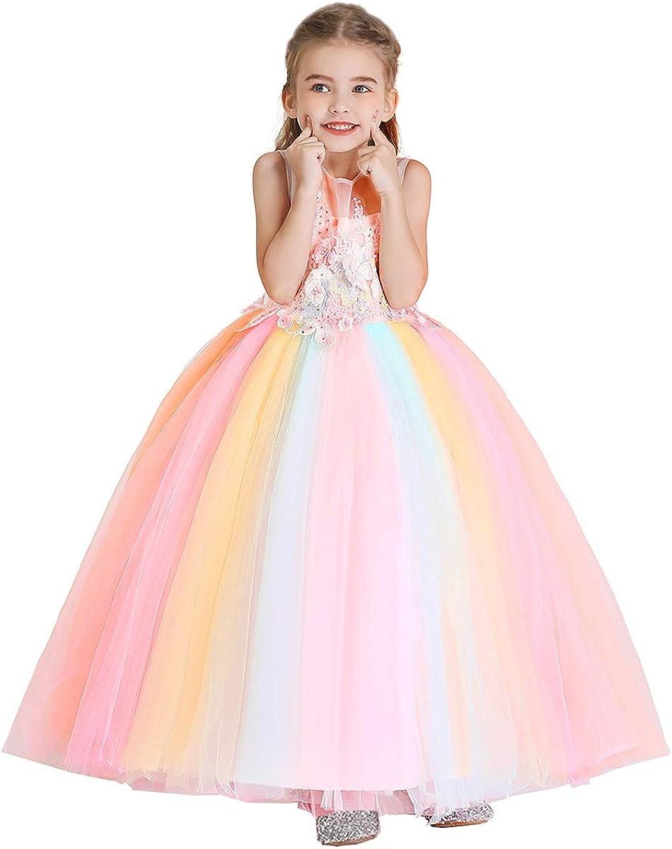 MYRISAM Princesse Fille Licorne D/éguisement Robe de Anniversaire C/ér/émonie Soir/ée Halloween Carnaval No/ël F/ête Spectacle Mariage Longue en Tulle Robes Bal 4-15 Ans