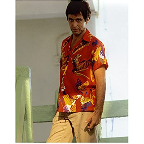 Scarface Al Pacino as Tony Montana Standing in Red and Tan 8 x 10 Inch  Photo at Amazon s Entertainment Collectibles Store 9b8e52a013