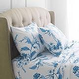 Pinzon Signature 190-Gram Cotton Heavyweight Velvet Flannel Sheet Set - Queen, Floral Smoky Blue