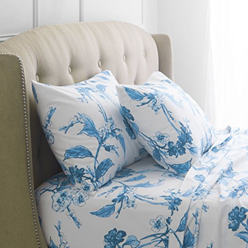 Pinzon Signature 190-Gram 100% Cotton Heavyweight Velvet Flannel Bed Sheet Set, Queen, Floral Smoky Blue