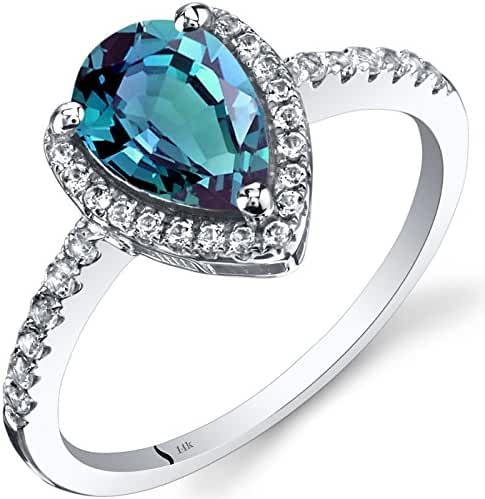 14K White Gold Created Alexandrite Open Halo Ring Pear Shape 1.50 Carats Sizes 5 to 9