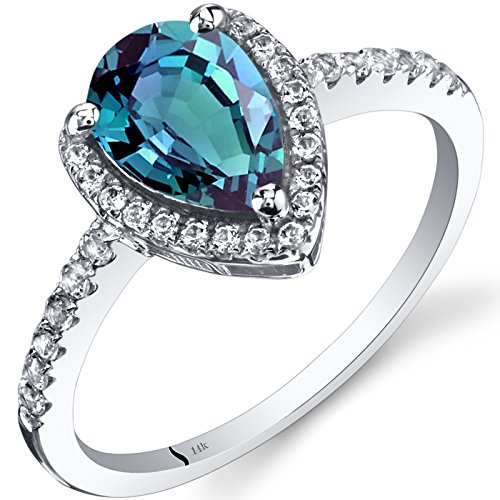 14K White Gold Created Alexandrite Open Halo Ring Pear Shape 1.50 Carats Size 7
