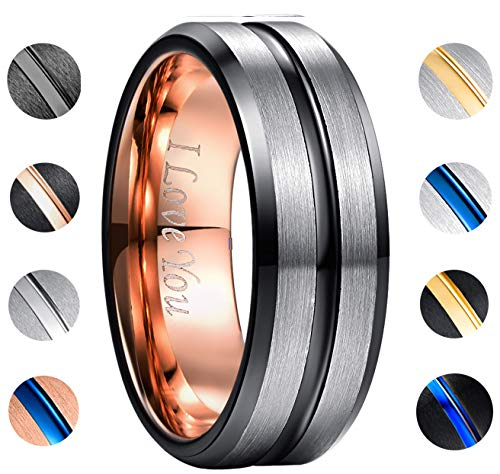NUNCAD Black and Rose Gold Plated Tungsten Carbide Wedding Ring Matte Finish Beveled Edges Comfort Fit Size 9