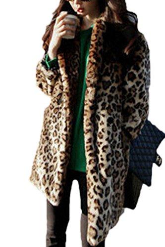 Abrigos Leopard Abierto Las De Capa Mujeres Chaqueta Leopardo De Frente Solapa Externa Forrado Invierno De Cuello BBSwqTxZ7