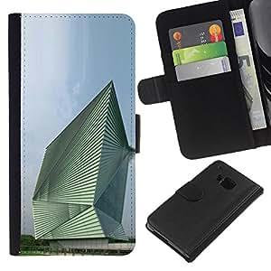 Planetar® Modelo colorido cuero carpeta tirón caso cubierta piel Holster Funda protección Para HTC One M9 ( Architecture Abstract Building )