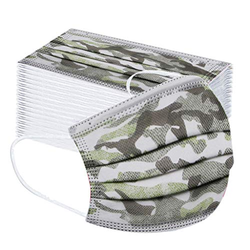 Clacce 50pcs Enfant Visage Foulard Jetable Bandana Respirant Noël Kawaii Imprimé Facewear Scarf Tube Écharpe, Cadeau de Noël (camouflage)