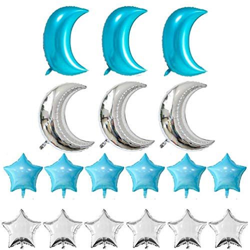 KIYOOMY Crescent Moon Shaped Mylar Balloons 36 inch Moon Star Party Balloons Pack of 18 Birthday Party Anniversary Celebrate Parties Wedding Baby Shower(Turquoise Blue -
