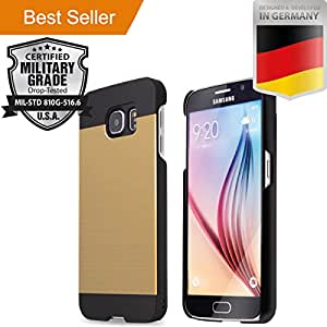 Samsung Galaxy S6 [5.1] [Slim Aluminum] Case [Anti Shock] Hybrid [Dual Layer] Brushed Alloy [Absorbent Bumper] Drop Impact Resistant PVC [INO Metal] Skin Armor Cover [Motomo] Gold