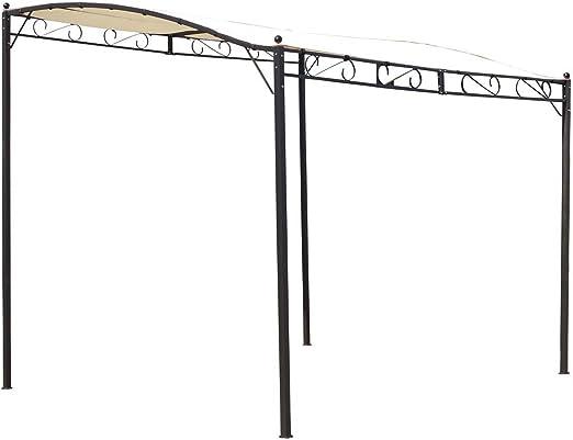 habitatetjardin Pergola de Pared Lisa Beige en Acero - 3 x 2.5 x 2/2.5 m: Amazon.es: Jardín