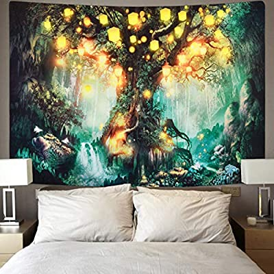 Sevenstars Forest Fairy Tales Tapestry Lantern Tapestry Waterfalls Under Tree of Life Tapestry Hippie Tapestry Headboard Home Decor