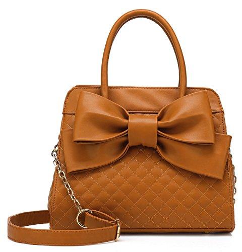 (Scarleton Quilted Bow Satchel Handbag for Women, Vegan Leather Crossbody Bag, Shoulder Bag with Removable Adjustable Strap, Tote Purse, Brown, H104804)