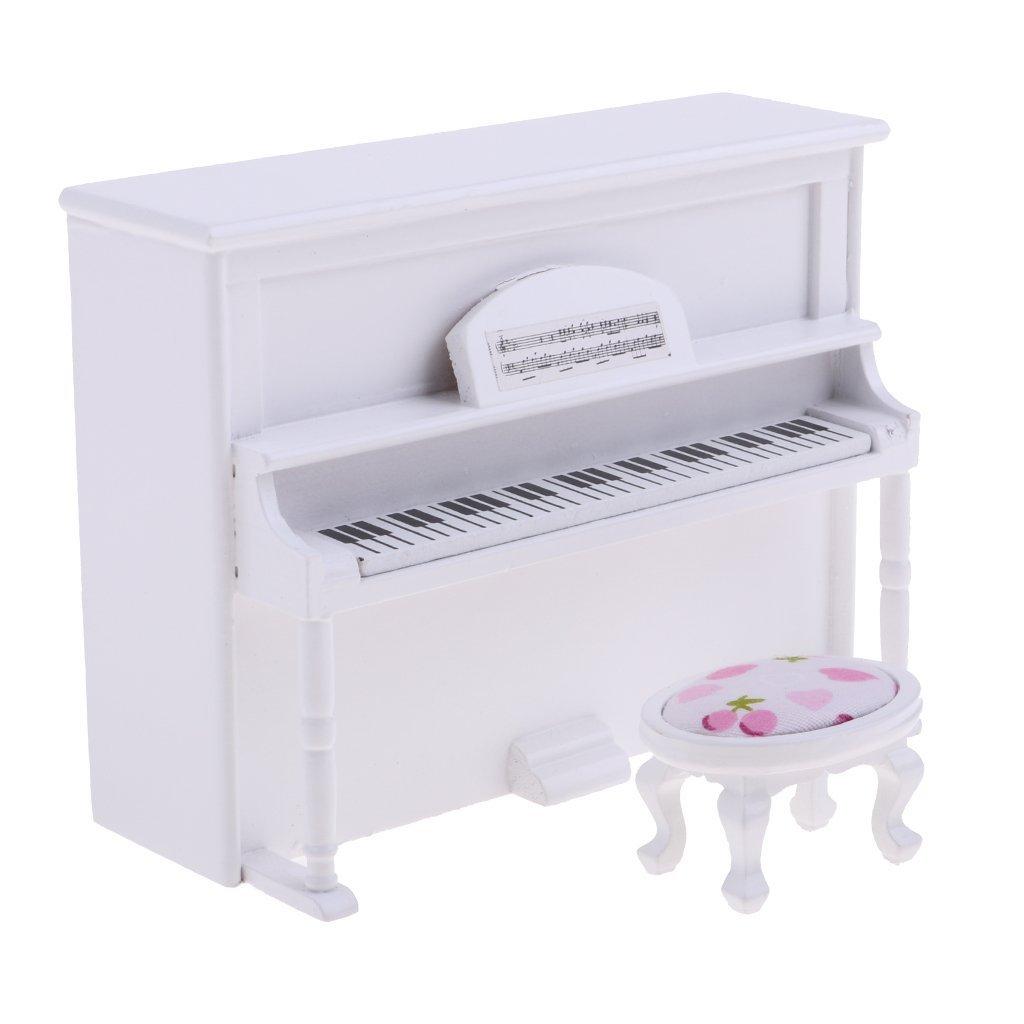 CuteExpress Miniature Piano Model 1/12 Scale Dollhouse Musical Instrument Ornaments Gift Mini Decoration Furniture Accessories (White)
