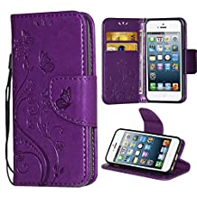 iPhone 5 Case,i-Dawn Premium Wallet Leather Flip Protective Case with Wristlet Lanyard and Kickstand for Apple iPhone 5/5S/SE Purple
