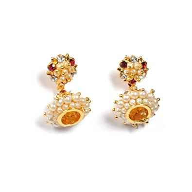 Diwali festival offer gift item- Jewbang whitestone Chennai Express Model  Jhumka Earrings-JB185 for Girls