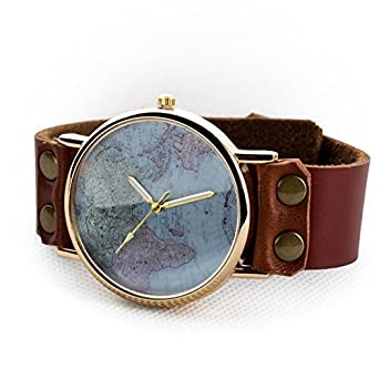 Amazon womens unisex fashion world map watch brown leather womens unisex fashion world map watch brown leather strap classic golden edge with gift box sciox Choice Image