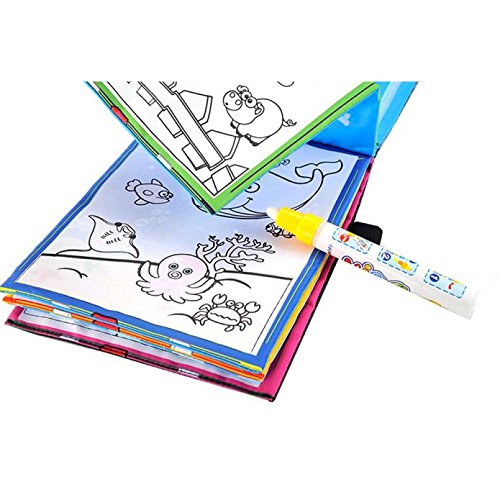 Rong Halloween Magic Water Drawing Book Coloring Book Doodle Magic Pen Animals Painting (Color, A) -