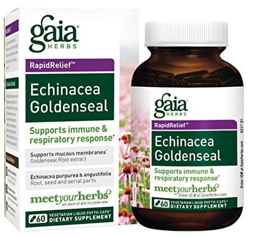 Gaia Herbs Echinacea Goldenseal, Vegan Liquid Capsules, 60 Count – Immune Support and Healthy Inflammatory Response During Seasonal Stress, Made with Organic Echinacea For Sale