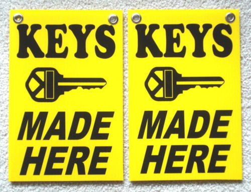 VINBOX (2) KEYS MADE HERE Coroplast SIGNS with grommets 8'', X 12'', from VINBOX