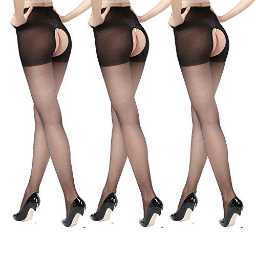 Sheer crotchless pantyhose (3 Pair), Push-up Satin Fatal Open Crotch Free Tights, Closed Top 15D Black (Satin Tights)