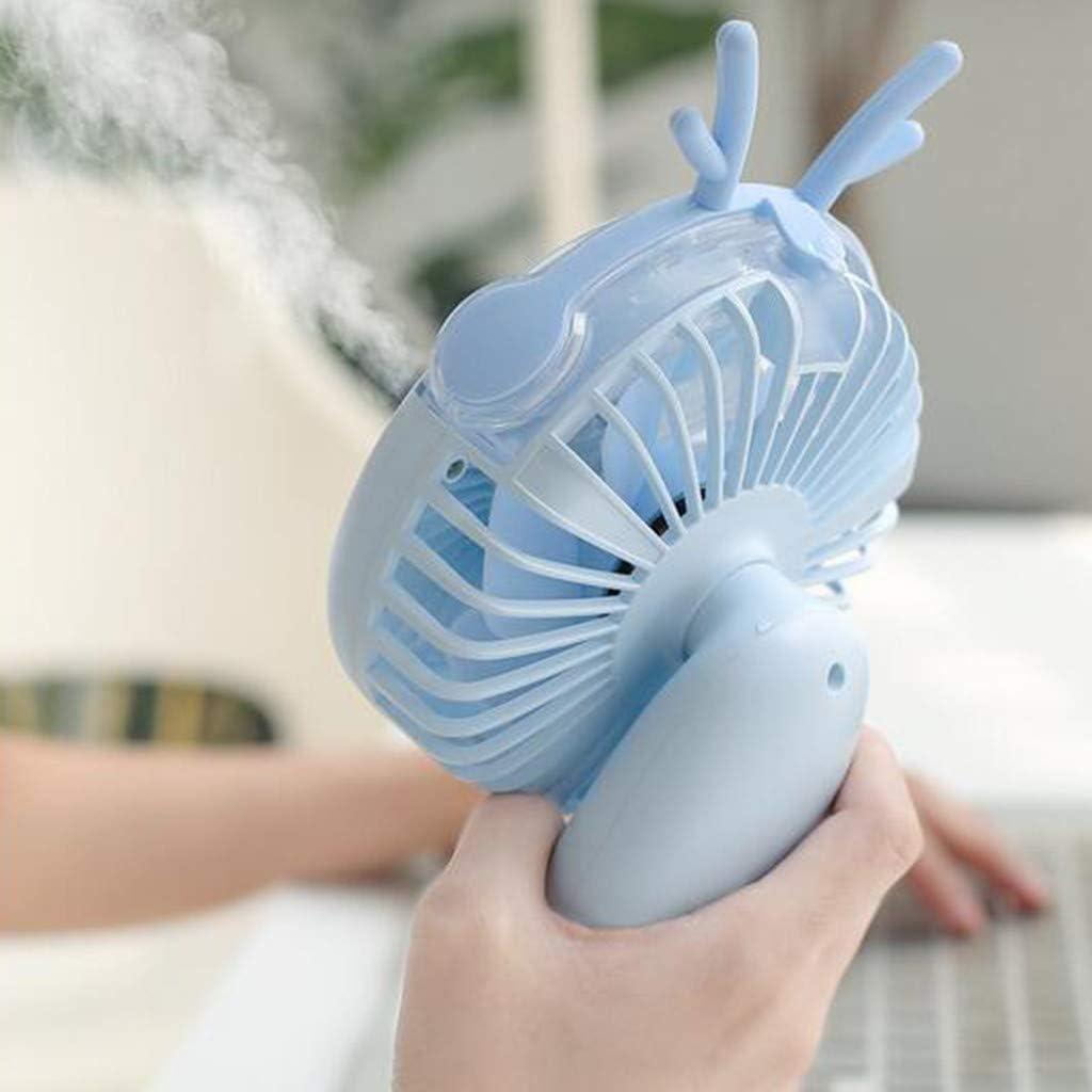 Rechargeable 2000mAh Handheld Spray Mini Fan Personal Desk Mobile Portable Desktop Fan for Computer Laptop Home Outdoor Indoor Travel Unionm USB Fan Pink