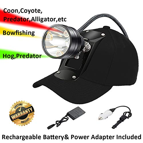 Cree LED Hunting Lights with Red & Green Hunting Light for Scanning Coons,Coyotes,Predators/Amber Light for Bowfishing/3 Powerful White Light for Night Outdoor Sports Premium Hunting Headlamp