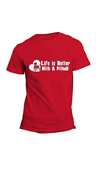 Life is Better with a Pitbull Dog Unisex TShirt Pit Bull Cute Shirt (Red)