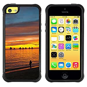 LASTONE PHONE CASE / Suave Silicona Caso Carcasa de Caucho Funda para Apple Iphone 5C / Sunset Sea Beautiful Nature 13
