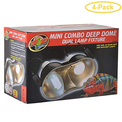 Zoo Med Mini Combo Deep Dome Lamp Fixture - Black Up to 100 Watts - Each Socket - Pack of 4
