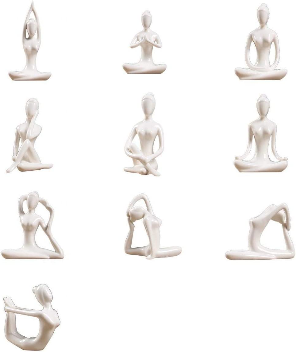LOVIVER 8pcs/Set Art Ceramic Yoga Poses Figurine Porcelain Yoga Lady  Statue Different Poses Home Yoga Studio Decor Ornament